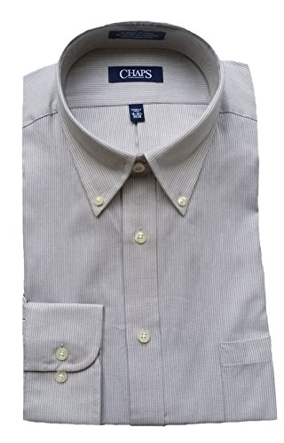 Chaps Men's Performance Classic Fit Twill Pin-Stripe Dress Shirt, Linen (16-16.5 34/35) Twill Stripe Dress Shirt