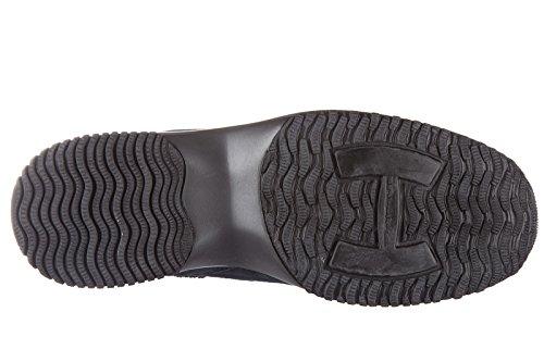 Hogan scarpe sneakers bambina camoscio interactive h fustellata blu