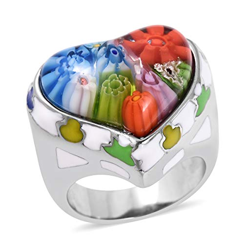 (Shop LC Delivering Joy Cocktail Ring Stainless Steel Heart Multi Color Murano Millefiori Glass Enameled Jewelry for Women Size 8)