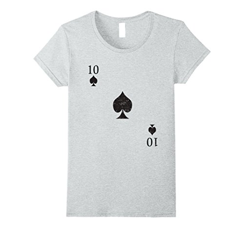 Jean Grey Costume Halloween (Womens Ten of Spades Tshirt Costume - Be Part of a Royal Flush! Medium Heather Grey)