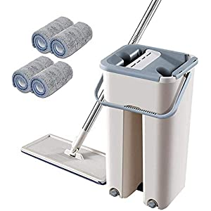 Whixant Mop Bucket Set, 2 in 1 Wash Dry with Reusable Flat Mop Pads, Easy Self Wringing Dust Mops for Floor Cleaning