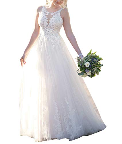 - Nicefashion Women's 2019 Exclusive Scoop Lace Empire A Line Beaded Chapel Train Beach Wedding Dresses White US8