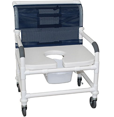 MJM International 126-4-NB-FSSS-DDA Extra Wide Shower Chair with Full Support Soft Seat and Drop Arms, 425 oz Capacity, 40'' Height x 30'' Width x 29.5'' Depth, Royal Blue/Forest Green/Mauve