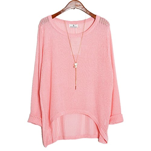 AMIN Womens Casual Long Sleeve Knit Sweater Loose Casual Pullover Sweaters (Pink)