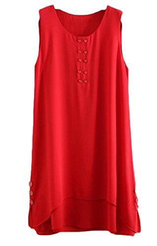 Jaycargogo Sera Sportiva Maniche Mini Donna Abito Party Rosso Beach Senza D'estate qRFHTnrqx