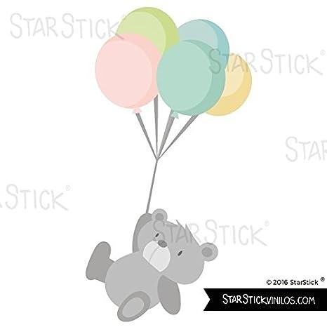 Wandtattoos für babyzimmer Kuschelig teddybär mit luftballons T1 StarStick Kleines