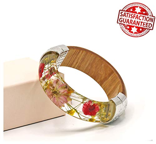 IDesign Bangle Bracelet for Women Flower Bracelet Wood Bangle with Nature Flowers and Wood Bangles Hinged can Open (Brown Pink)