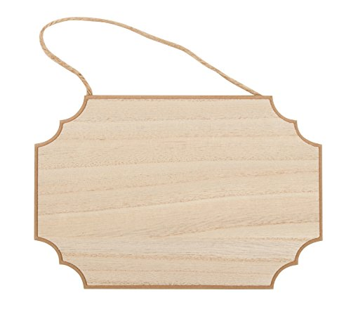 Unfinished Wood Plaque - 6-Pack Hanging Wooden Plaque with Jute Rope, Rectangle Rusic Signs for Home Decor, Award Recognition, DIY Projects, 2 Each of 3 Designs, 9 x 6 x 0.25 inches by Juvale (Image #1)