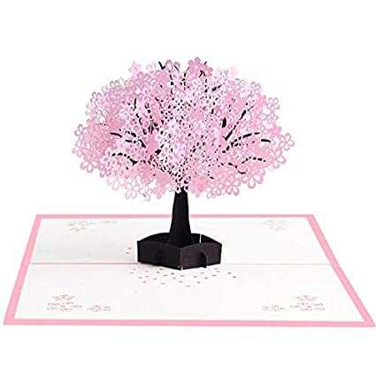 KINTRADE 3D Sakura Stereo Greeting Card Pop-up Card Romantic ...