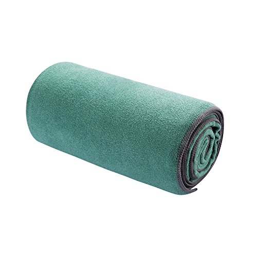 "BOER Non-Slip Absorbent Microfiber Hot Yoga Towel for Camping, Fitness, Workout, Pilates, Travel or Beach (24"" x 72"")"