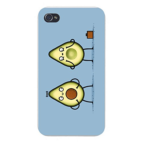"Apple iPhone Custom Case 5 / 5S White Plastic Snap On – ""Avocado Baby"" Fruit & Seed Couple Humor"