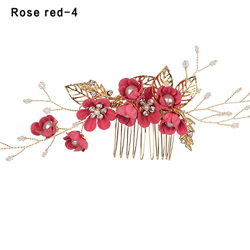 2019 New Arrival Luxury Blue Flower Hair Combs Headdress Prom Bridal Wedding Hair Accessories Gold Leaves Hair Jewelry Hair Pins,rose red4 -