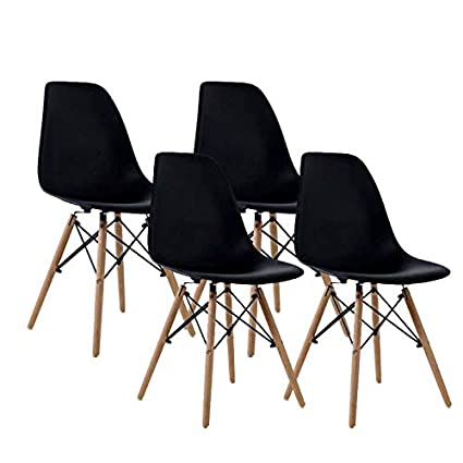 739a0291909b6 Homy Grigio Dining Chairs DSW Chairs Mid Century Modern Style Chairs  Plastic Chairs Wood Assembled Legs, Set of 4 (Black)