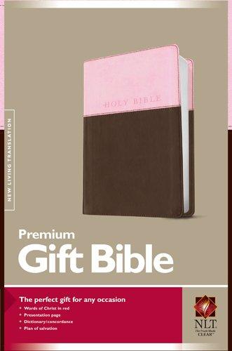 Premium Gift Bible NLT, TuTone (Red Letter, LeatherLike, Pink/Dark Brown)
