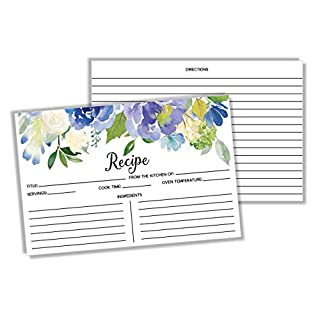 50 Recipe Cards - Blue Floral Rustic Double Sided 4x6, Wedding Bridal Shower Card, Blank Plain Printable Recipe Card for Binder, Vintage Retro Gift in a Mason Jar Recipe Cards 4 x 6