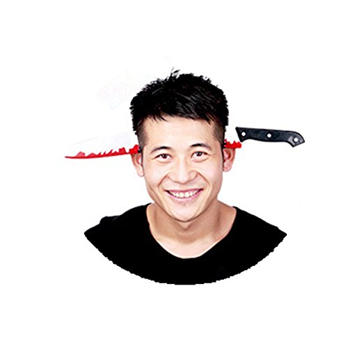 Kalanman Halloween Props Plastic Bloody Headband Fake Weapon Through The Head Funny Accessory for Child Adult (dagger) -