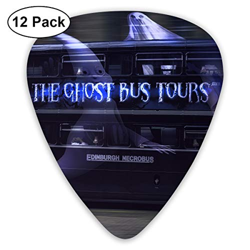 Cool Halloween Ghost Tour Bus Bendy Ultra Thin 0.46 Med 0.73 Thick 0.96mm 4 Pieces Each Base Prime Plastic Jazz Mandolin Bass Ukelele Guitar Pick Plectrum Display ()