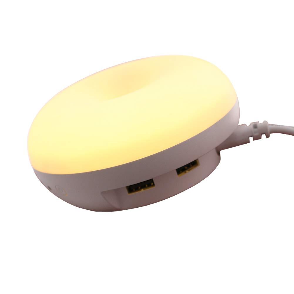 kasit Sensore luce progetto luce LED notturna con crepuscolare per sensore di alta frequenza e doppia USB-lastre da parete unità di ricarica, bianco chiaro lampada da parete candeliere per camera da letto, bagno, salotto, corridoio, cucina, superficie bere