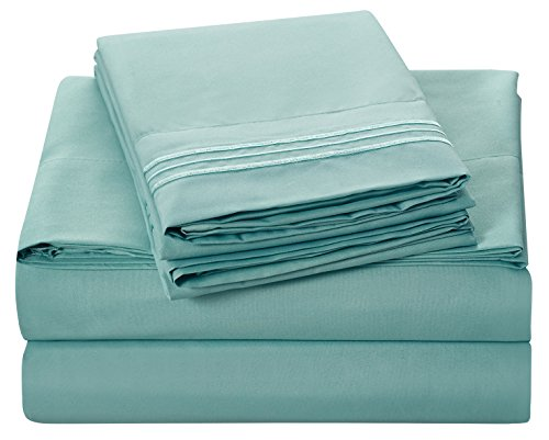 Bluedotsky Bedding - Highest Quality 100% Durable Polyester Bed Set with Deep Pockets Fitted Sheet - Premium Hotel Collection - Wrinkle, Stain and Fade Resistant - 4 Piece - Cal King, Aqua