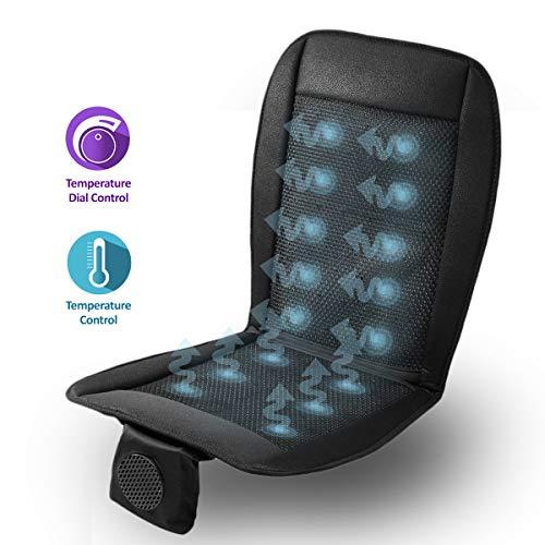 Zone Tech Cooling Car Seat Cushion - Black 12V Automotive Adjustable Temperature Comfortable Cooling Car Seat Cushion ()