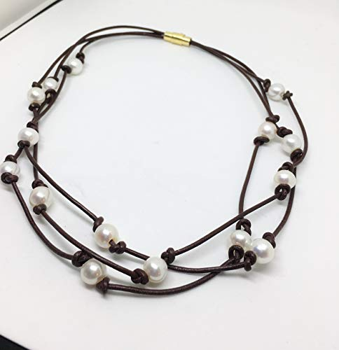 Triple Inspired Strand - Freshwater Cultured Pearl Knotted Leather Choker Necklace, Triple Strand