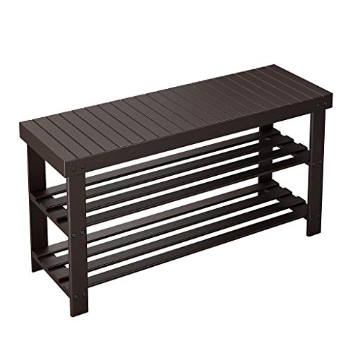 LANGRIA Large 3-Tier Shoe Bench Entryway, Shoes Rack Organizer Made of Sturdy, Bamboo for 8 Pairs of Shoes, Max Capacity 264 lbs, for Hallway Bedroom 33.9 x 11 x 17.7 , Espresso