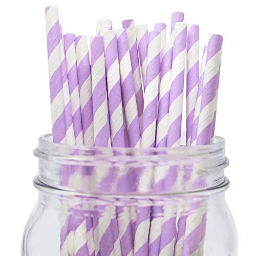 Just Artifacts Decorative Striped Paper Straws (100pcs, Striped, -