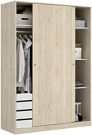 HABITMOBEL Armario Dormitorio 120 con CAJONERA, de 2 Puertas correderas con guías y Tiradores: Amazon.es: Hogar
