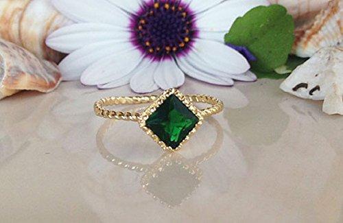 Square Stacking Ring (Emerald Ring - Gemstone Ring - Gold Ring - May Birthstone Ring - Square Stone Ring - Stacking Ring - Simple Ring)