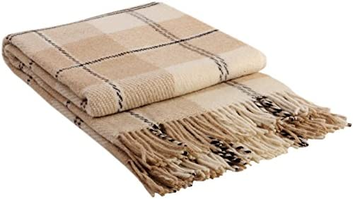 """Home /& Exterior Decor for Winter Comfort 3.7 lbs Soft Large 79/""""x87/"""" Full Size Bed Light Green CG HOME Wool Plaid Blanket Throw Tartan with Fringe Warm and Luxurious Thick"""