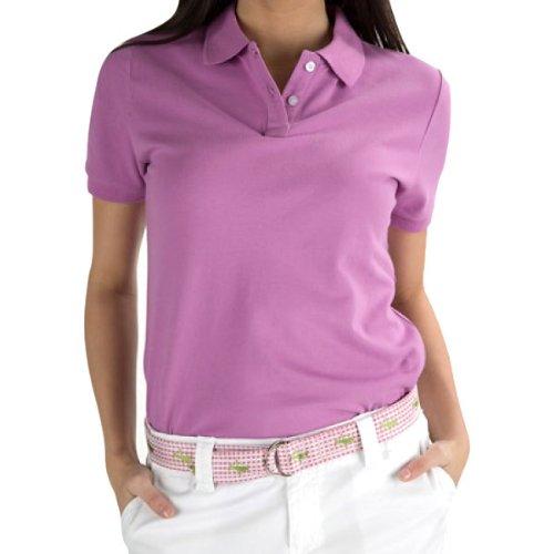 Violet Women's Stretch Pique Polo Shirt - White Logo