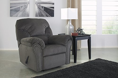 Kinlock Contemporary Charcoal Fabric Rocker Recliner with Nailhead Trim