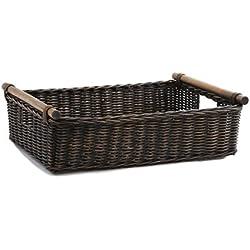 The Basket Lady Low Pole Handle Wicker Storage Basket, Extra Large, Antique Walnut Brown