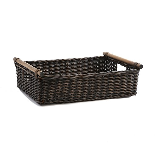 The Basket Lady Low Pole Handle Wicker Storage Basket, Large, Antique Walnut Brown (Wicker Baskets Antique)