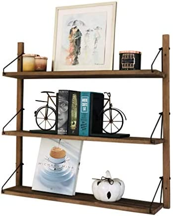 AVIGNON HOME Rustic Wood Floating Shelves – Wall Storage Shelves for Living Room, Bedroom, Bathroom, Kitchen – Wall Mounted Hanging Shelves – Vintage Style Shelf D cor Brown, 32 inches