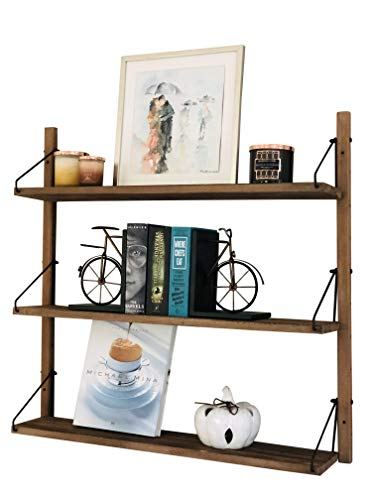 AVIGNON HOME Rustic Wood Floating Shelves - Wall Storage Shelves for Living Room, Bedroom, Bathroom, Kitchen - Wall Mounted Hanging Shelves - Vintage Style Shelf Décor (Brown, 32 inches)