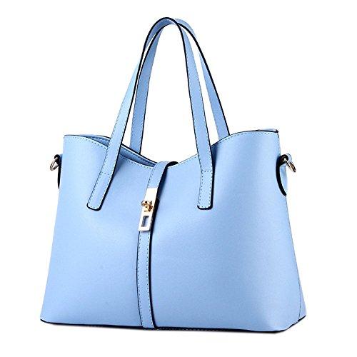 DELEY Fashion Women Tote Handbag Shoulder Bag Ladies Office Briefcase Shopper Light Blue