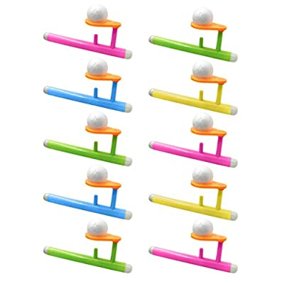 STOBOK Ball Blowing Toy Floating Blow Pipe and Balls Balance Blowing Toys,Pack of 10: Toys & Games