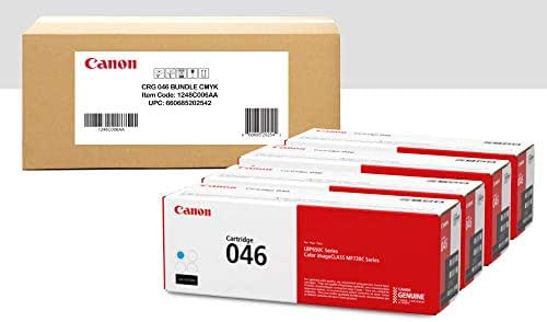 Canon Genuine Toner Bundle 046 (1248C006), 4 Pack (1 Each: Cyan, Magenta, Yellow, Black), for Canon Color imageCLASS MF735Cdw, MF733Cdw, MF731Cdw, LBP654Cdw Laser Printers