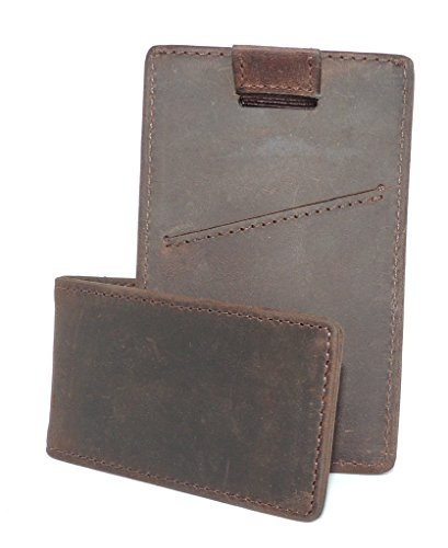 Slim + Thin Leather RFID Minimalist Wallet/Card Holder & Money Clip 2 pc Gift Set (Money Rustic Clip)