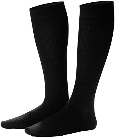 Dr. Comfort Men s Cotton Dress Graduated Compression Knee-High Sock, 20-30 mmHg, Black, Medium