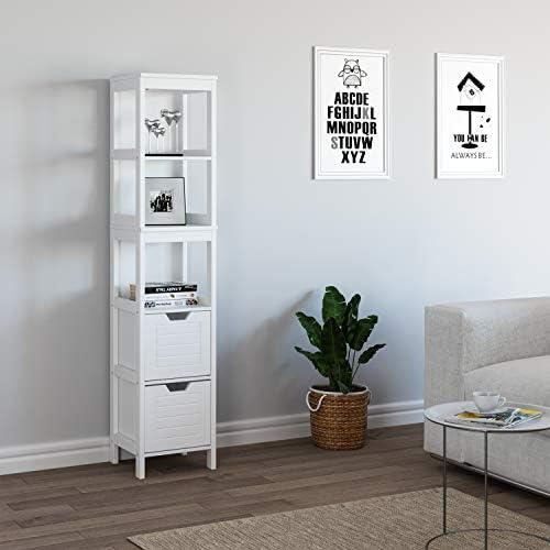 Homfa - Estantería de Almacenamiento para baño con 5 estantes y 2 cajones de Madera, 30 x 30 x 145 cm, Color Blanco