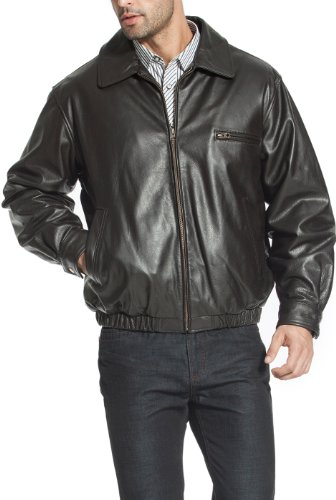 BGSD Men's Aaron Classic Cowhide Leather Bomber Jacket - L Brown