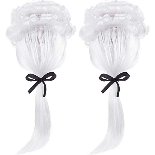 Best Halloween Party Washington Dc (2 Pieces Judge Wig Lawyer Wig Costume Men Long White Wig George Washington Costume Accessories for Cosplay Halloween)