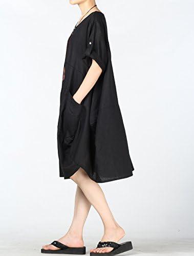 Vogstyle damski okrągły dekolt krÓtki rękaw casual tunika top z kieszeniami: Odzież