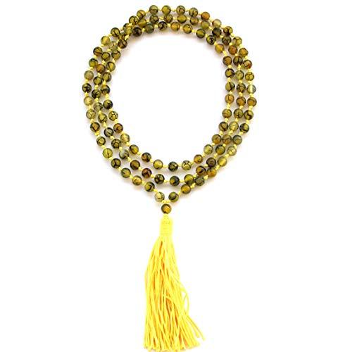 OVALBUY 108 Hand Knotted Agate 6mm Beads Tibetan Buddhist Prayer Japa Mala for Meditation