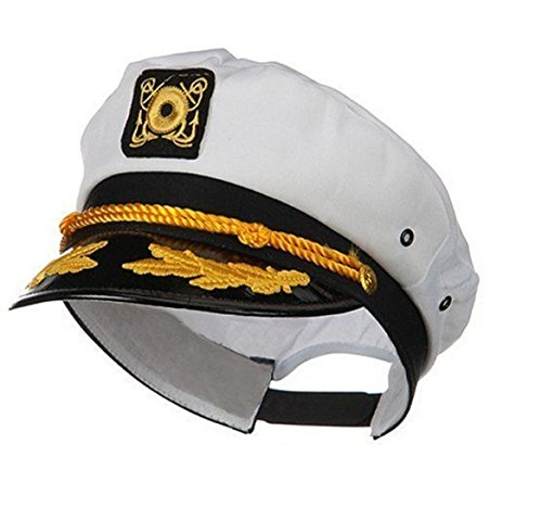 Jacobson Hat Company Sailor Ship Yacht Boat Captain Hat Navy Marines Admiral Cap Hat White Gold (Jacobson Hat)