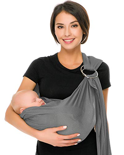 Cuby Breathable Baby Carrier Mesh Fabric, Ideal for Summers/Beachhe Adjustable Ring Sling Baby Carrier. Ergo Friendly (Light Grey) ()