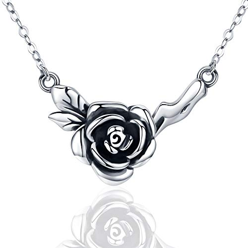 - JUSTKIDSTOY 925 Sterling Silver Rose Flower Pendant Necklace, Vintage Oxidized Rose Flower Necklace, Elegant Black Rose Flower Jewelry Gift for Women Ladies Girlfriend Sister,18