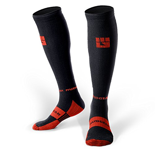 MudGear Compression Socks - Men's and Women's Running Socks Made in USA for Outdoor Sports Performance & Recovery - 1 Pair (Black/Orange, Large)